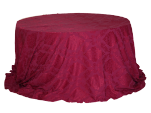 Round Table with Pink Jacquard Cover